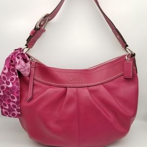 Coach pink leather hobo purse w/ scarf